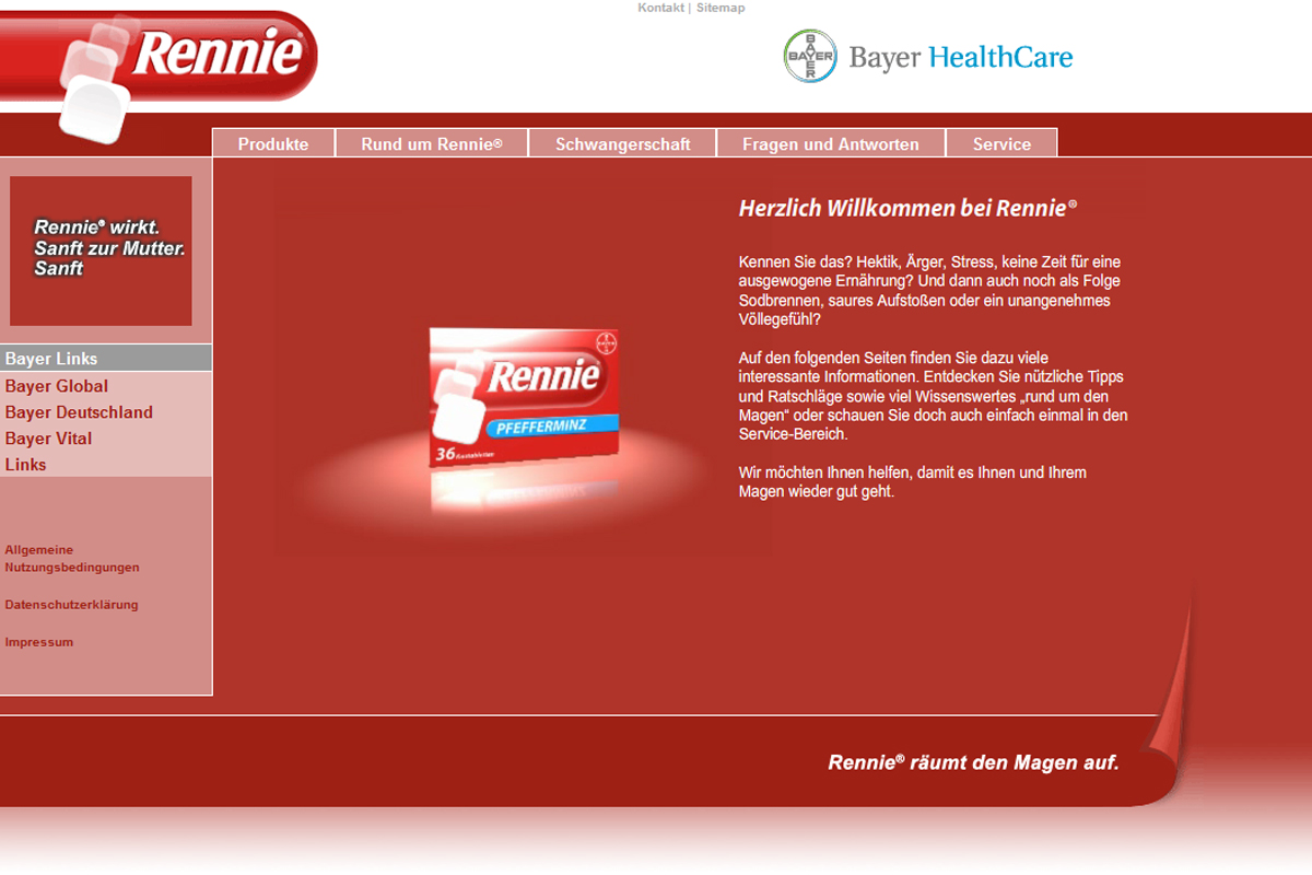 Bayer HealthCare – Rennie Website