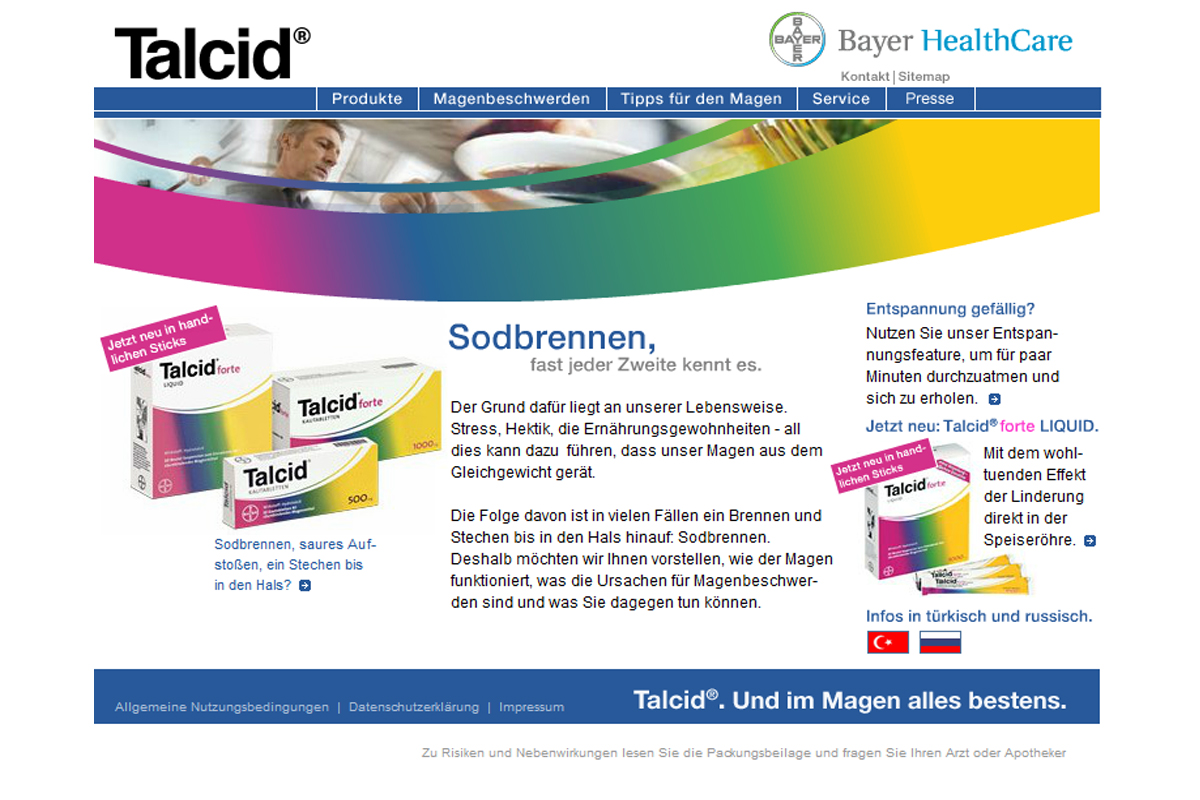 Bayer HealthCare – Talcid Website