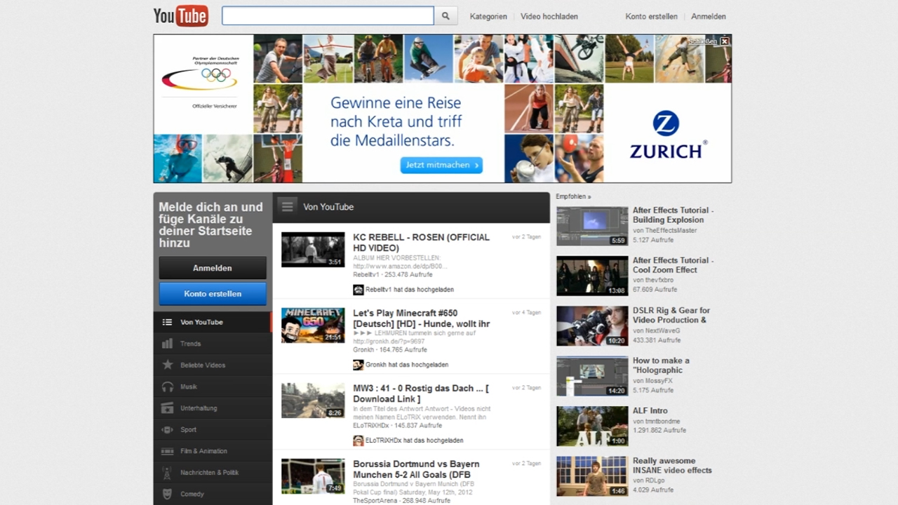 Zurich – Masthead YouTube